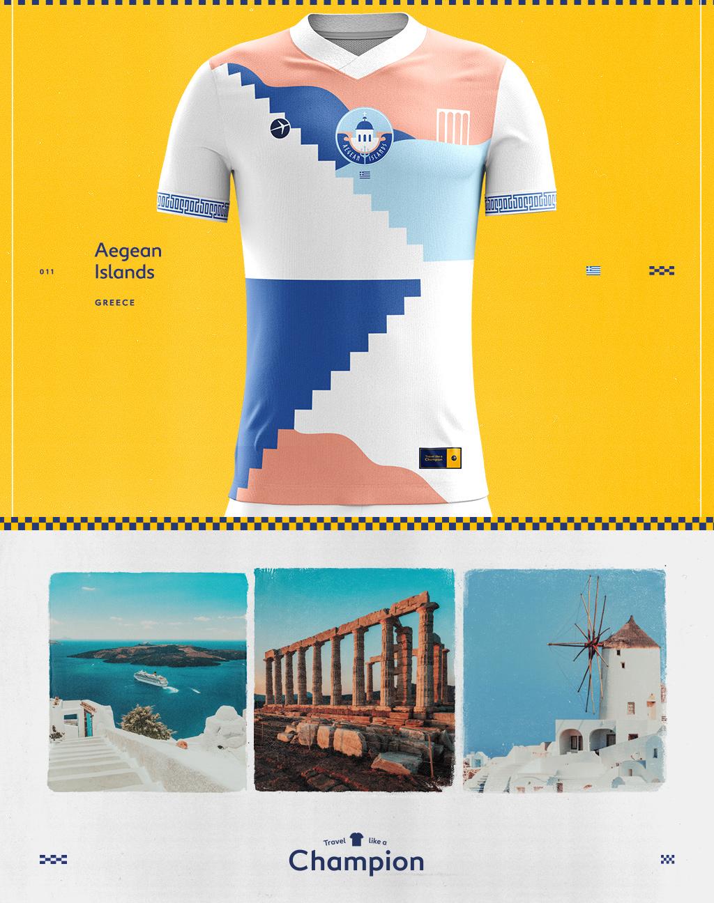 the aegean sea greece interpreted as a soccer jersey design