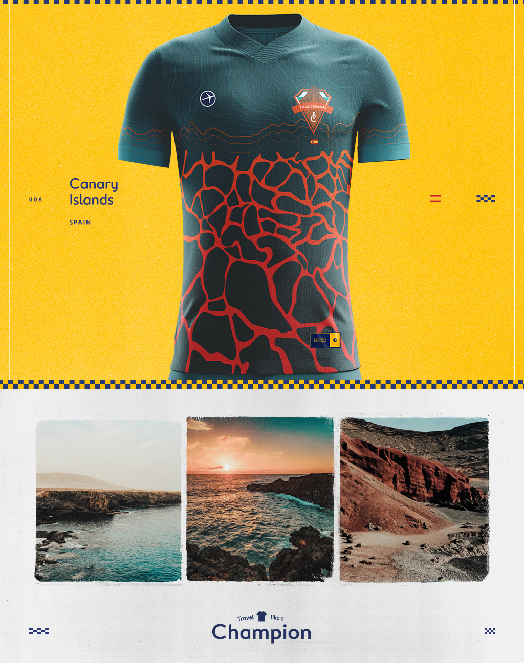 soccer jersey design inspired by scenes of the canary islands