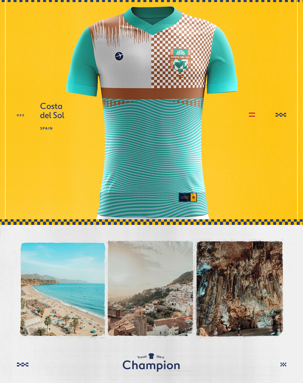 images of costa del sol and a soccer jersey design inspired by them