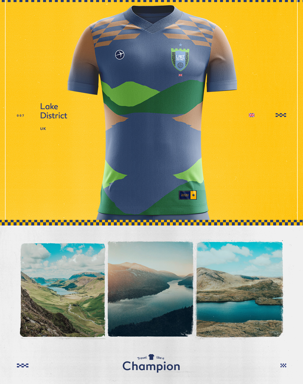 images of the lake district of the UK made into a soccer jersey design