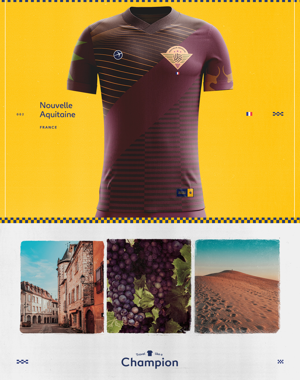 pictures of nouvelle aiquitaine and the soccer jersey they inspired