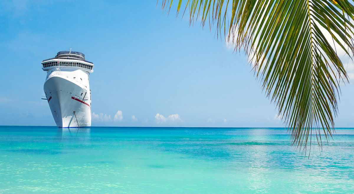Caribbean backdrop with a cruise ship