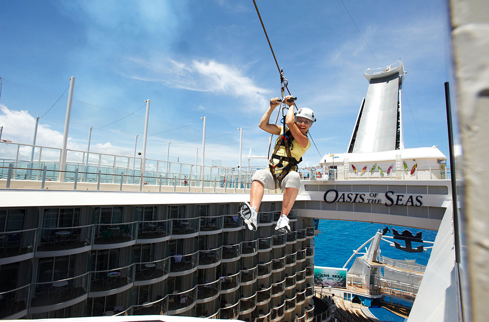 Zip line aboard the Oasis of the Seas