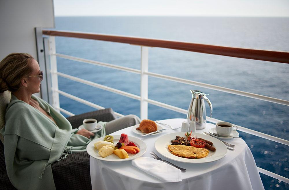 A delicious breakfast overlooking the ocean