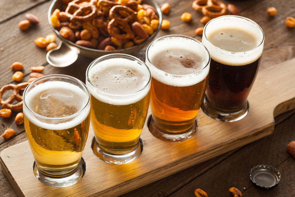 Row of beer for tasting--a top activity for a bachelor party in Toronto
