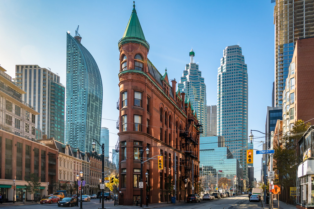 The colourful buildings of downtown Toronto, one of the best places to stay during a bachelor party