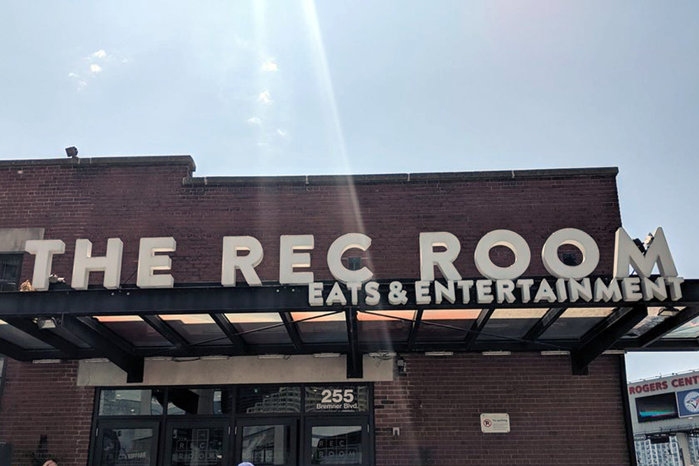 The outside of The Rec Room, of the best venues for a bachelor party in Toronto