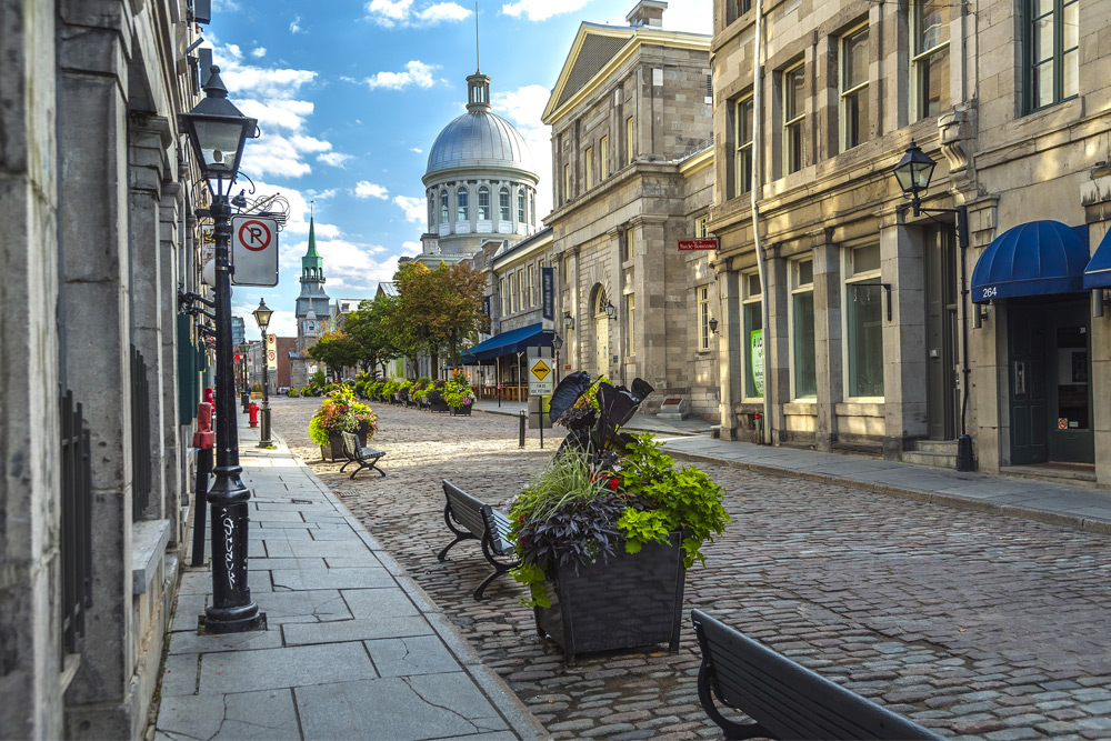 A shot the cobblestreets in Old Montreal, a top place to stay during a Montreal bachelor party