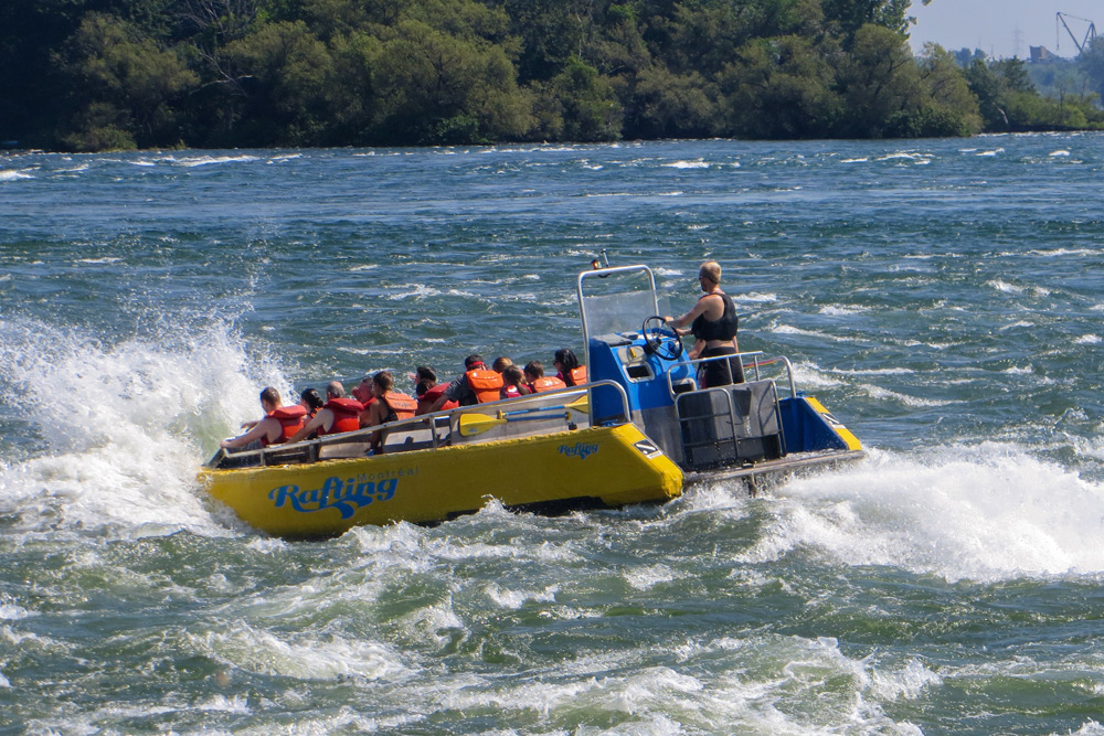 Rafting as a group in Montreal, a top bachelor party activity.