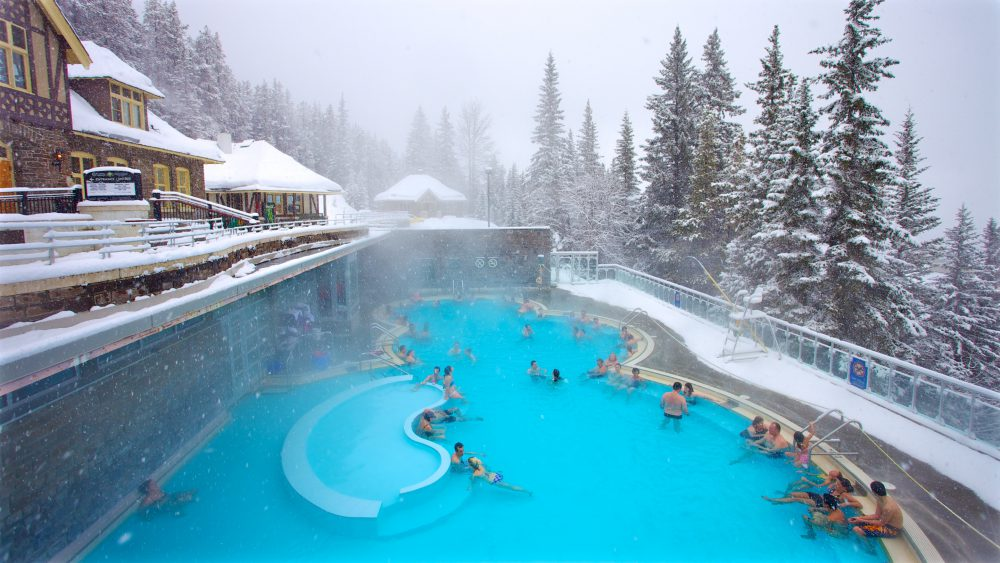 A large outdoor heated pool with adults relaxing inside against a wintry background of snow-covered evergreen trees
