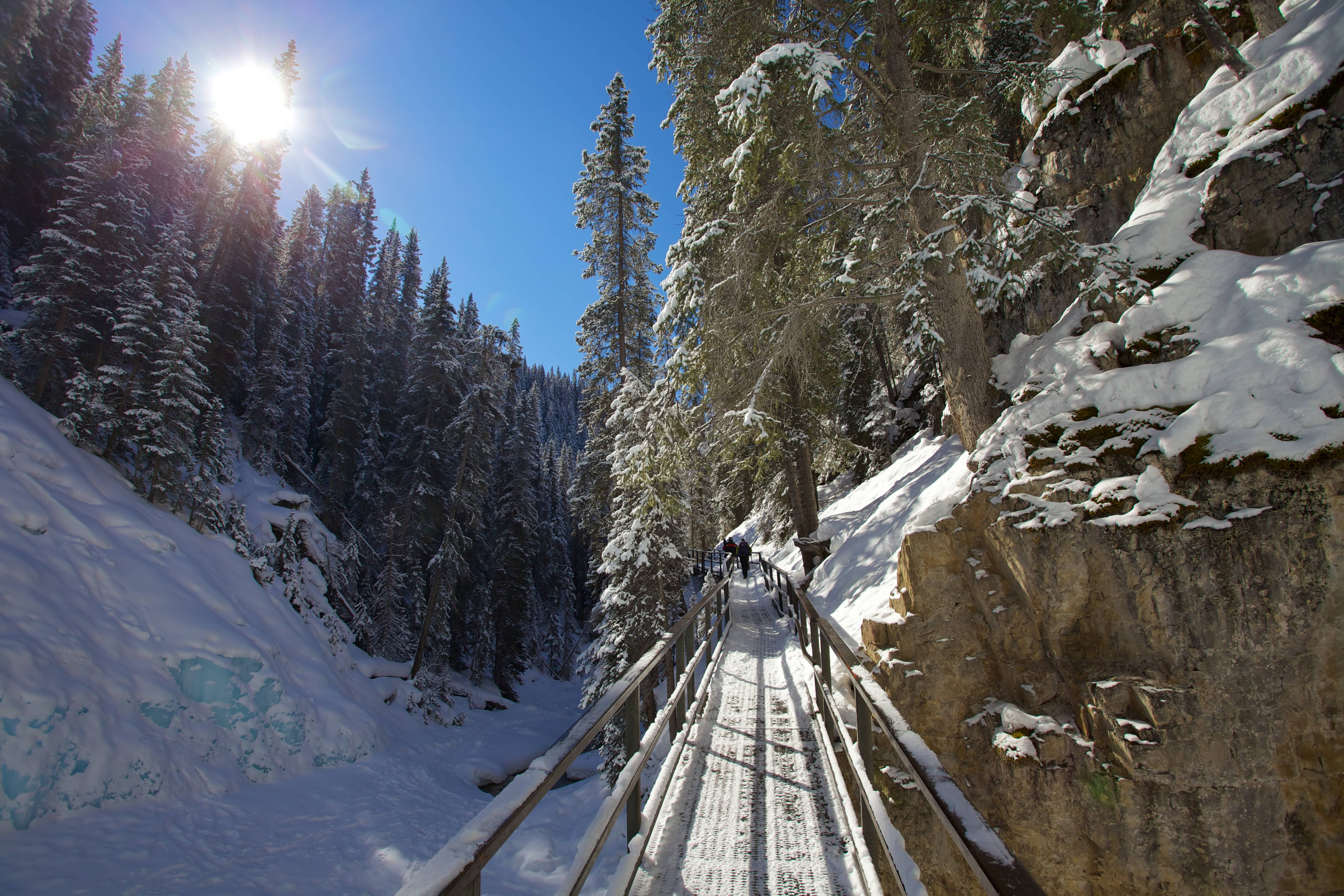 View of Johnston Canyon covered in snow