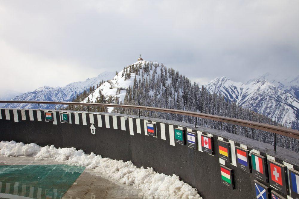 Snowly mountain peaks over the Banff Gondola