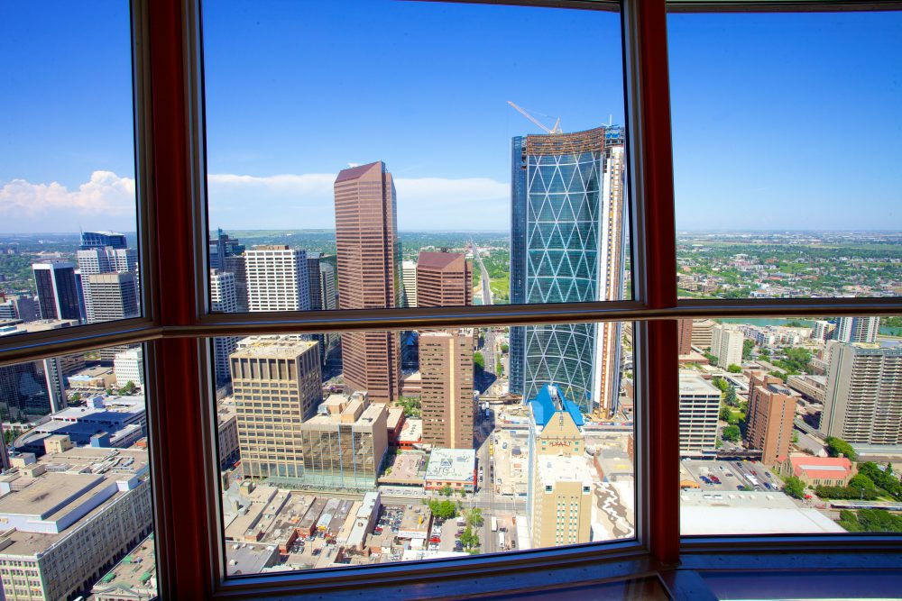 A view of Calgary through the windows of Calgary Tower