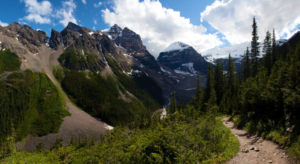 The Plain of the Six Glaciers Trail curves through the Rockies in Banff National Park