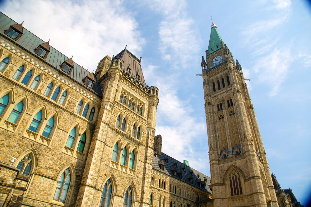 Exterior view of Parliament Hill in Ottawa