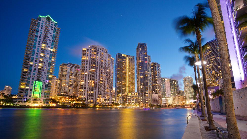 Buildings in Downtown Miami at night