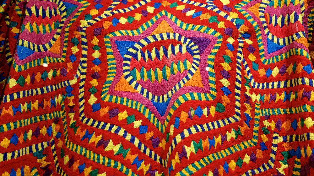 Closeup of fabric at Mayan Textile Center