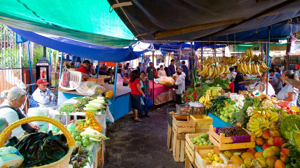 Vendors with stalls at the Artisan Market of Tepoztlan