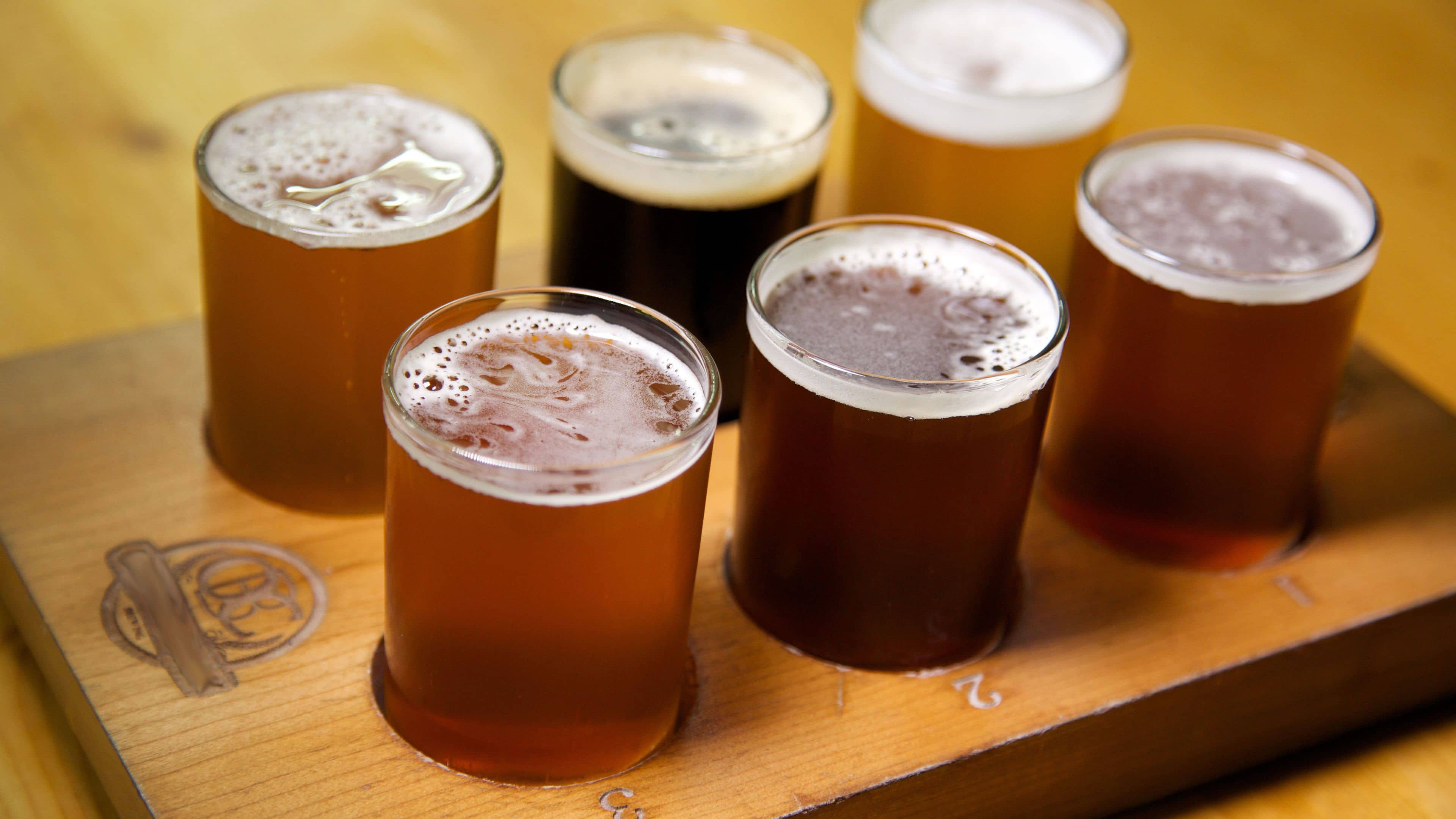 Beer tasting flight for a virtual fathers day