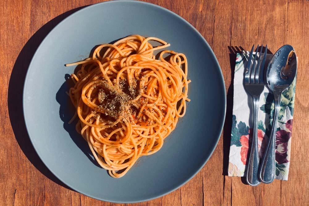 Spaghetti marinara from Rome, Italy