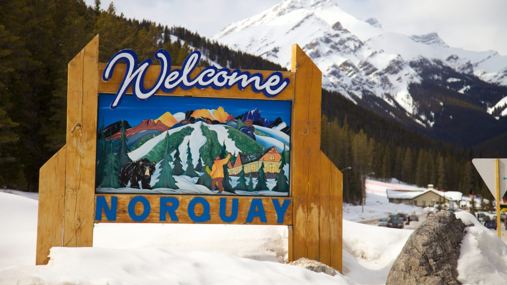 Welcome sign at Mount Norquay Ski Resort