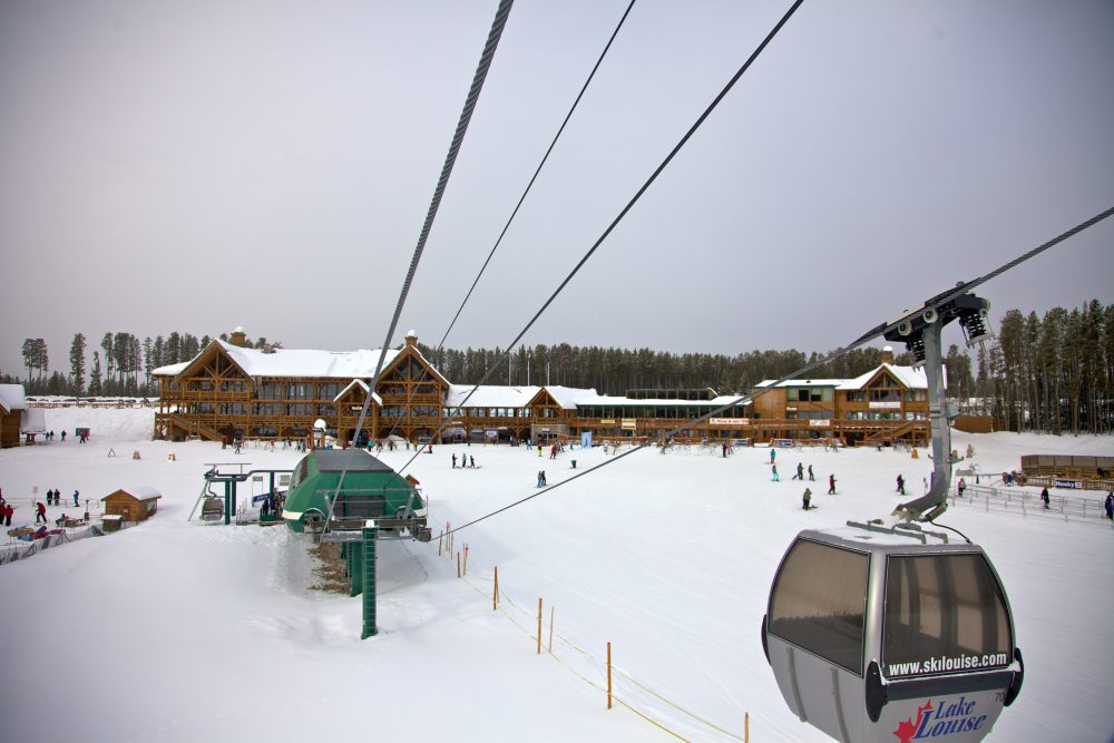 Chairlift and ski lodge at Lake Louise Mountain Resort