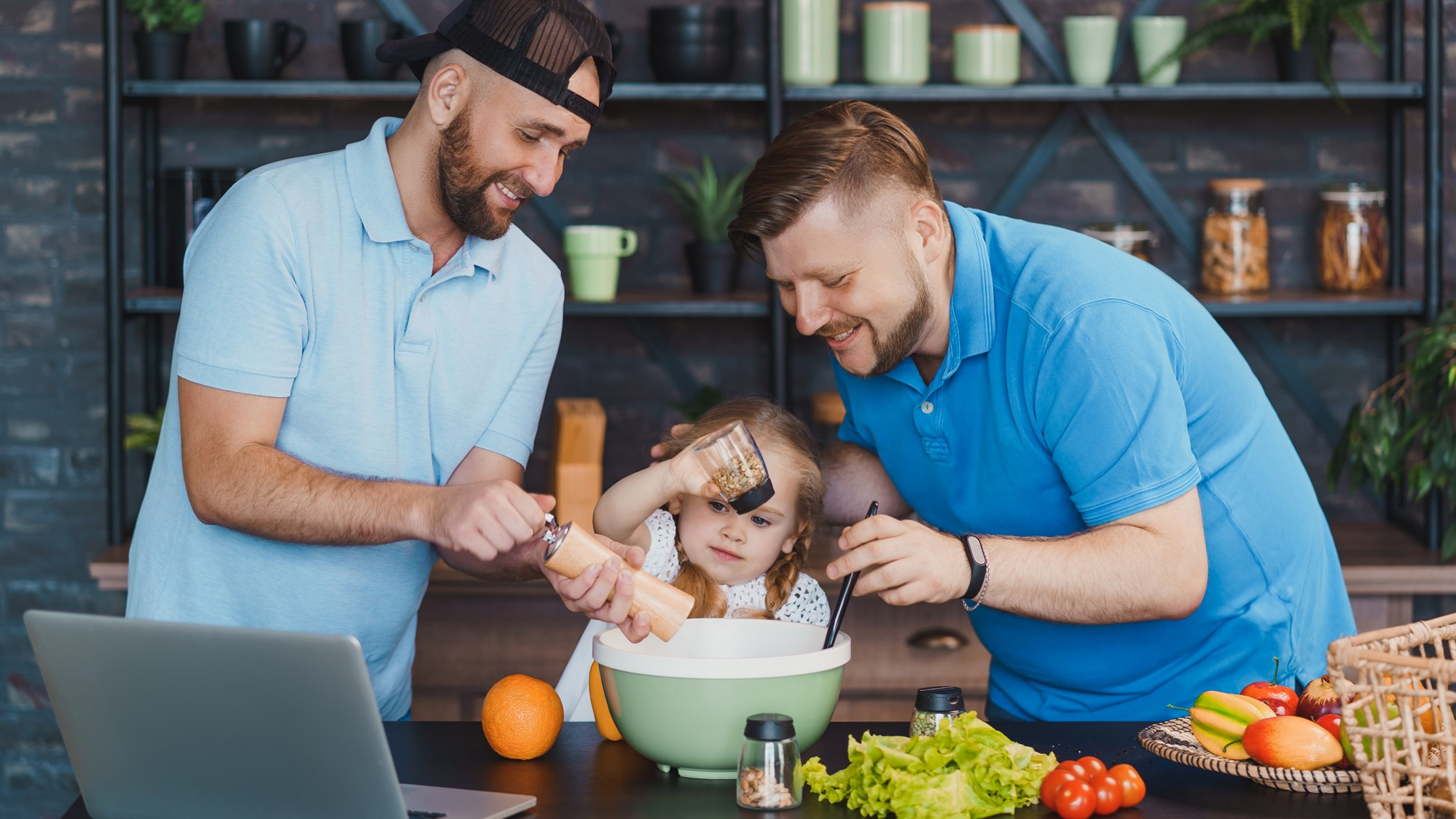 Taking an online cooking class for virtual fathers day