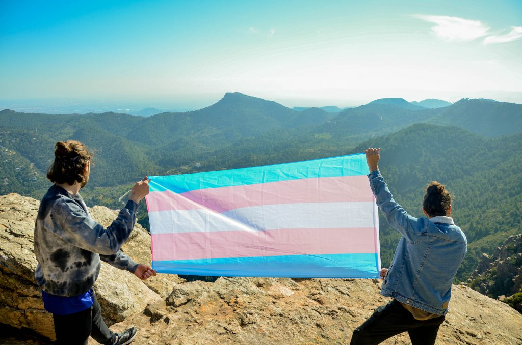 Two men holding the transgender flag upon a mountain