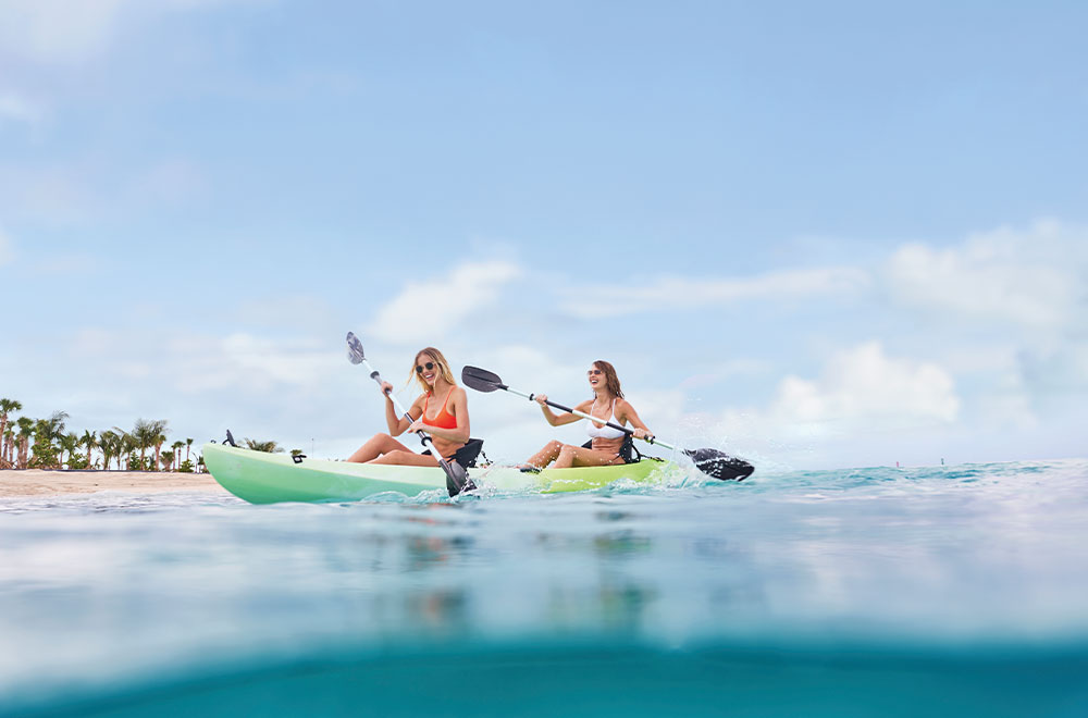 Ocean Cay offers Kayak and snorkel activities to cruise guests