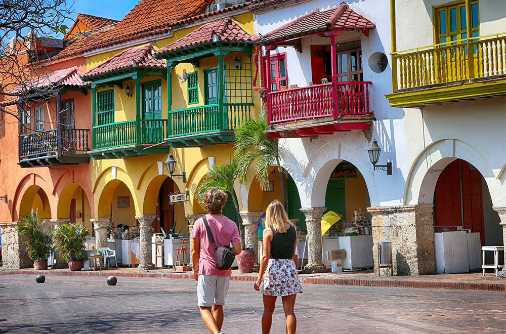 Couple exploring the old Town of Cartagena