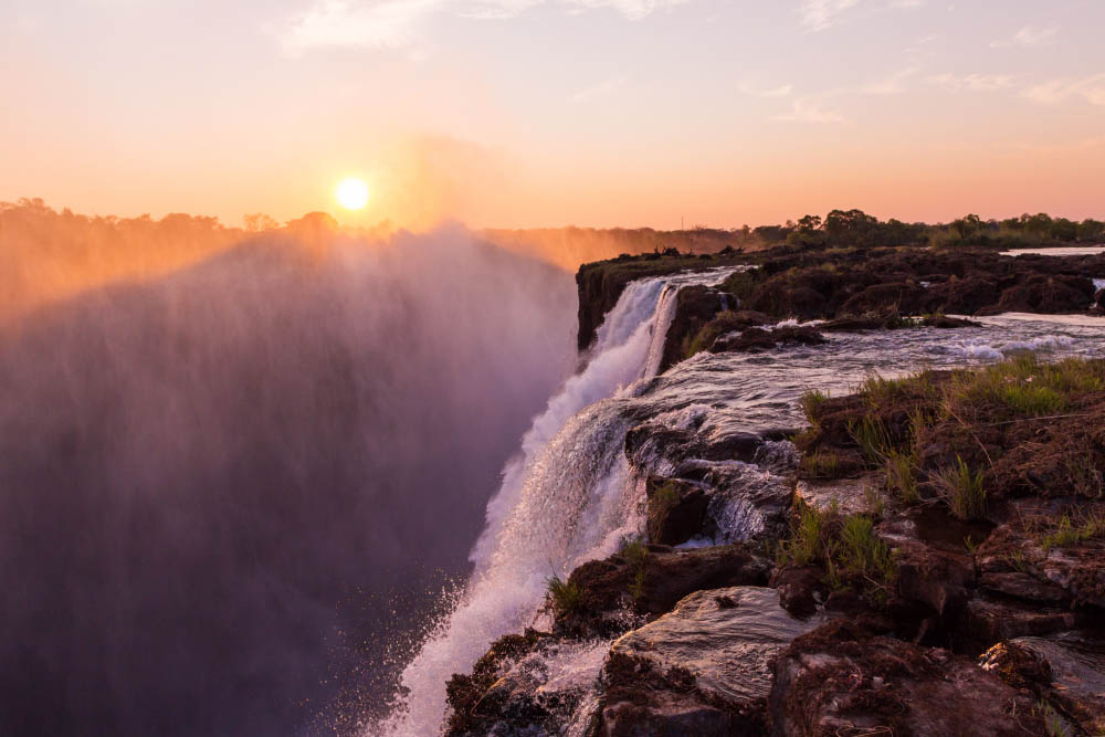 Going for a dip in Devil's Pool, Zimbabwe