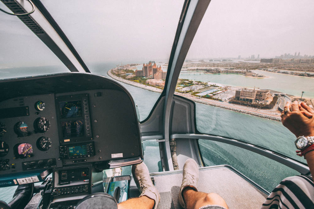 Riding a helicopter in Dubai, UAE