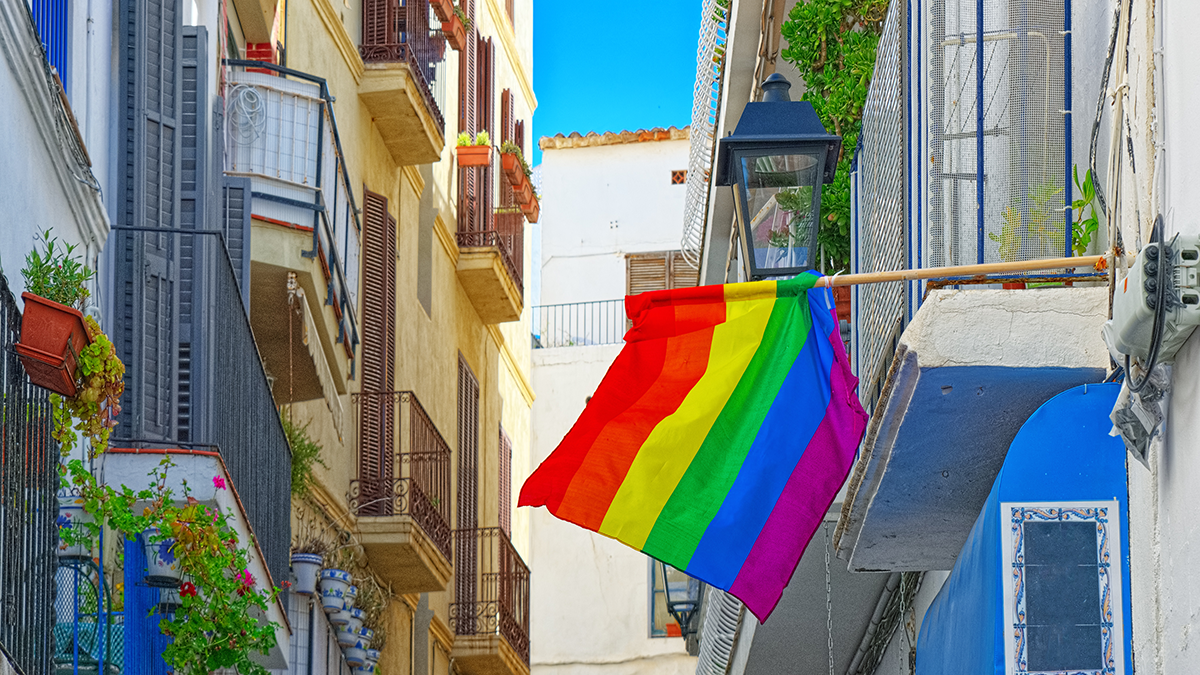 Town with Pride flag